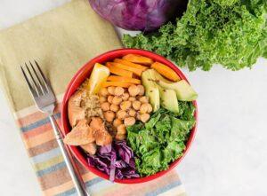 Quick Salmon Quinoa and Kale Power bowl