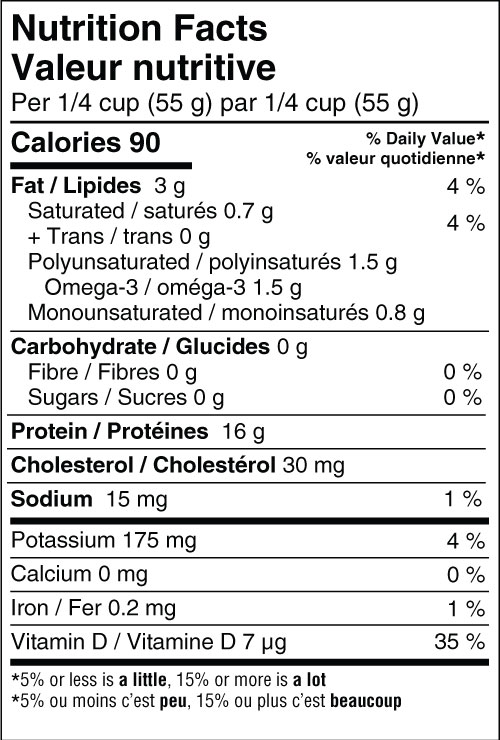 Albacore Tuna - No Salt Nutritional Fact Panel