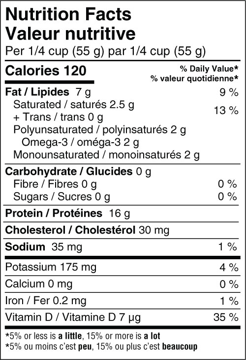 Albacore Tuna - Traditional Nutritional Fact Panel